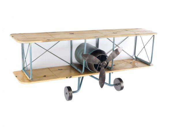 Wandregal Flugzeug Metall Doppeldecker Regal Blechflugzeug wall shelf aircraft