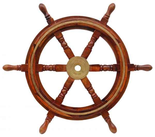Steuerrad 60cm Holz Messing Schiff Schiffsrad Schiffssteuerrad Schiffe Boot a