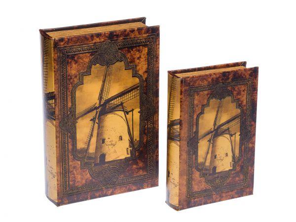 Lot de 2 écrins en forme de livre - motif moulin à vent - bois - style antique