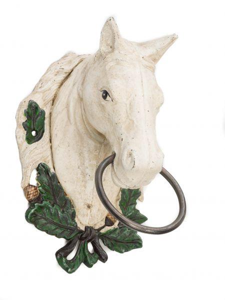 Wandgarderobe Pferd Handtuchhalter Eisen white horse head towel holder Antikstil