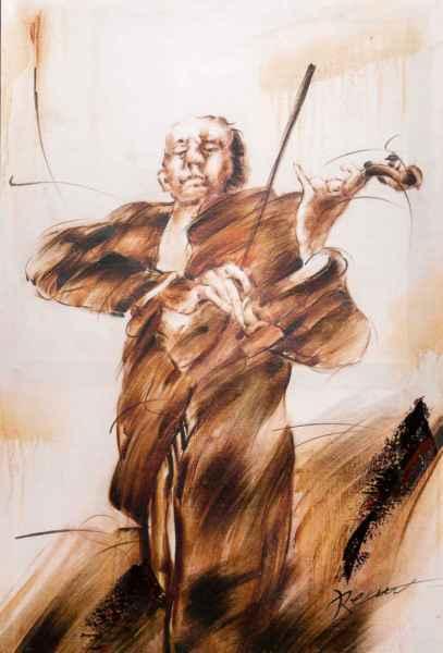 Olieverfschilderij muziek muzikant klassieke viool brancard frame foto moderne 90x60cm schilderstijl