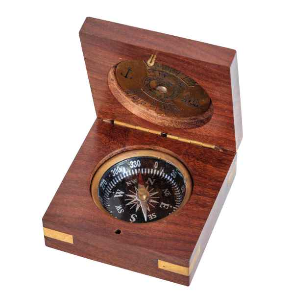 Kompass mit 100 Jahres Kalender Maritim Dekoration Navigation Messing Antik-Stil