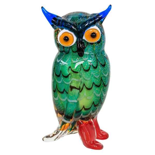 Glasfigur Eule Vogel Glas im Murano Antik Stil 22cm