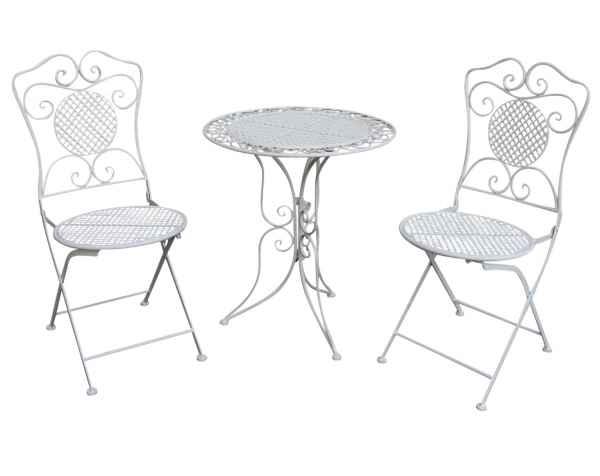 Salon de jardin - 1 table et 2 chaises - fer - style antique - blanc