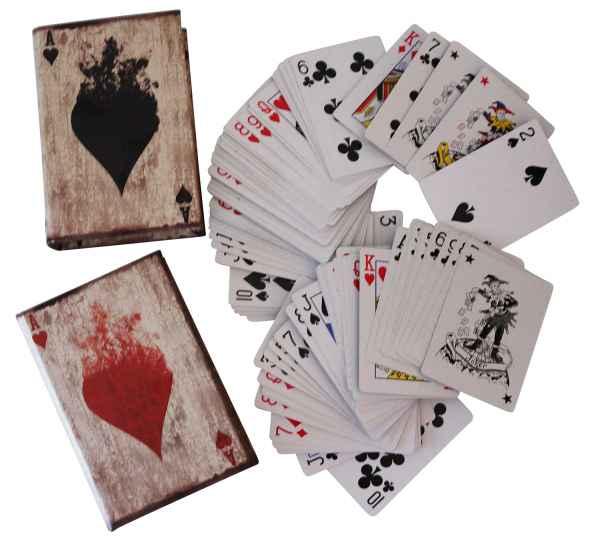 2x Poker Karten Pokerkarten Kartenspiel Box Hülle Buchattrappe Antik-Stil Joker
