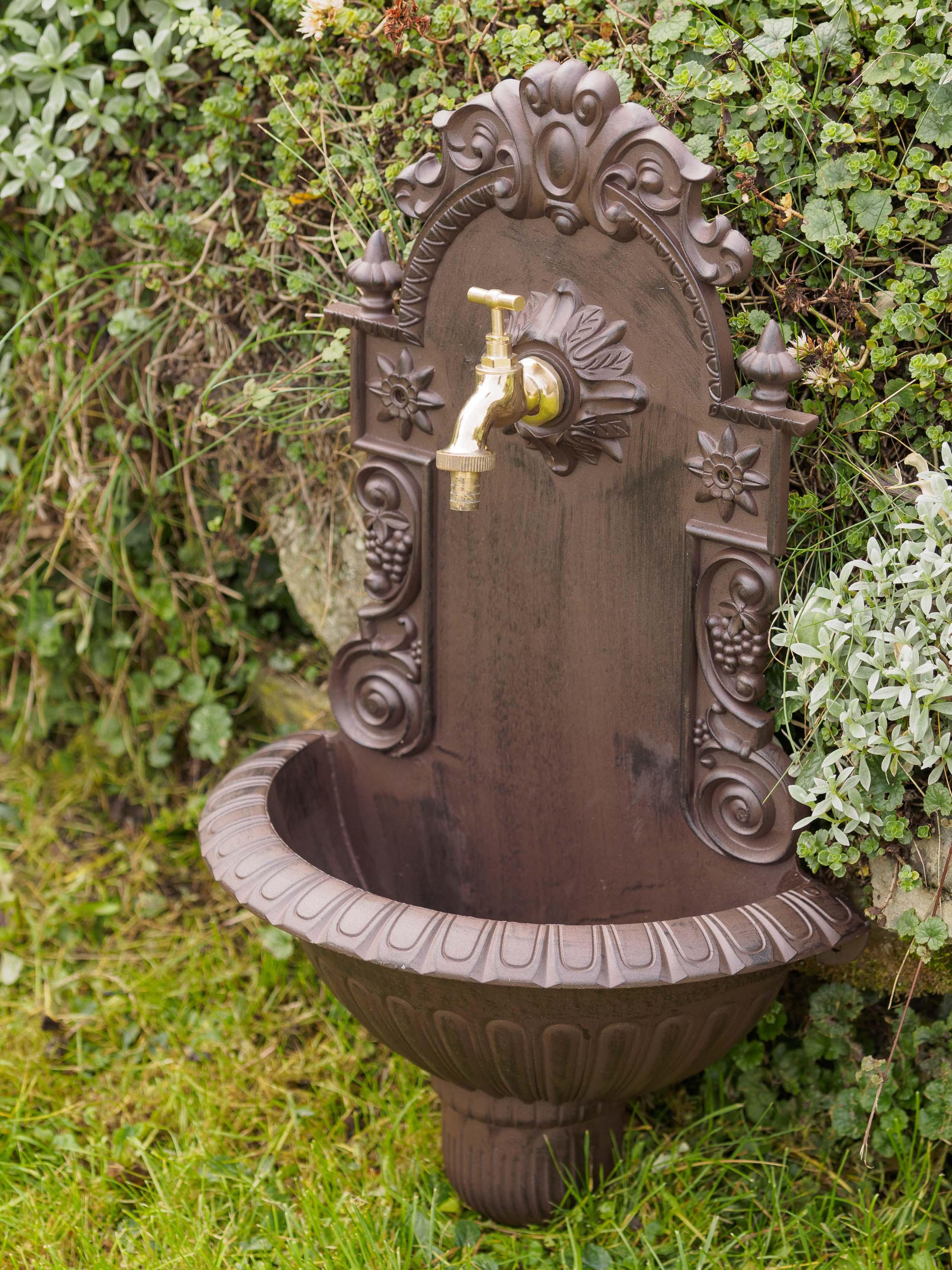Waschbecken Wein Wandbrunnen Garten Aluminium Becken Antik Stil