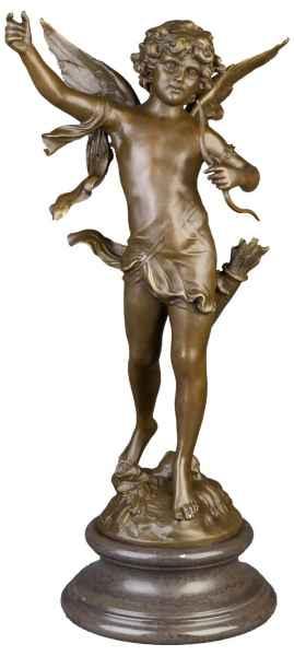 Bronzeskulptur Engel Amor im Antik-Stil Bronze Figur Statue 71cm