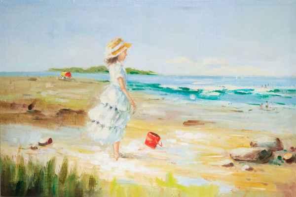 Ölbild Mädchen am Strand Meer Kind Sandstrand Keilrahmen Bild 90x60cm