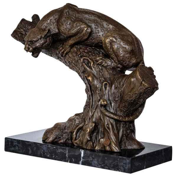 Bronzeskulptur Panther im Antik-Stil Bronze Figur Statue 35cm