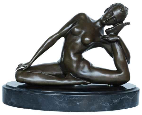Bronzeskulptur Erotik erotische Kunst Frau Antik-Stil Bronze Figur Statue 22cm