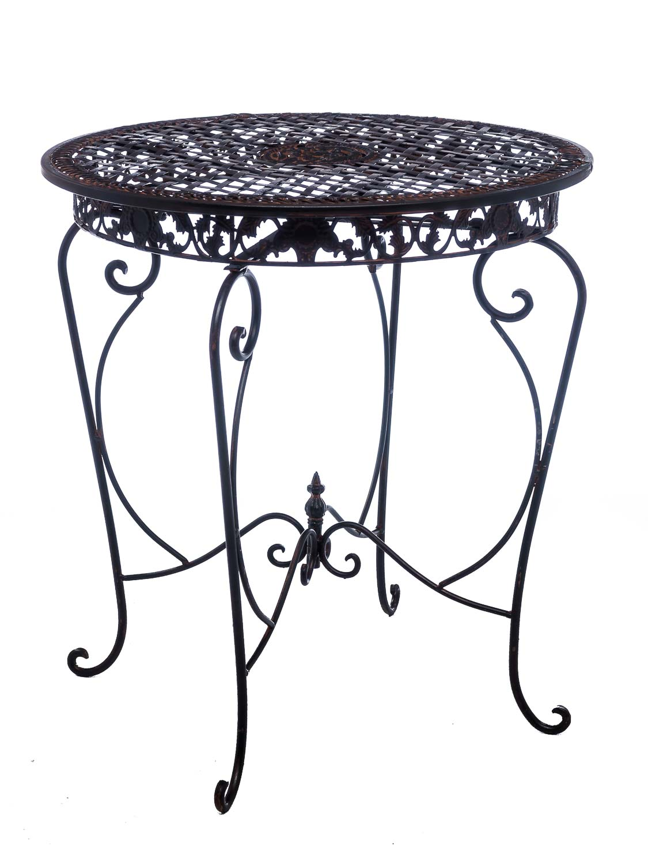 2x Silla de hierro Antik-estilo bistromöbel muebles de jardín marrón Mesa de jardín