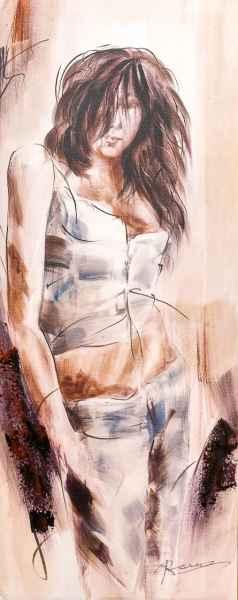 Ölbild junges Mädchen Keilrahmen Bild modern 100x40cm Gemälde Stil