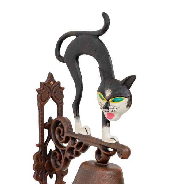 Wandglocke Türglocke Glocke Katze Garten Dekoration Eisen Antik-Stil 44cm