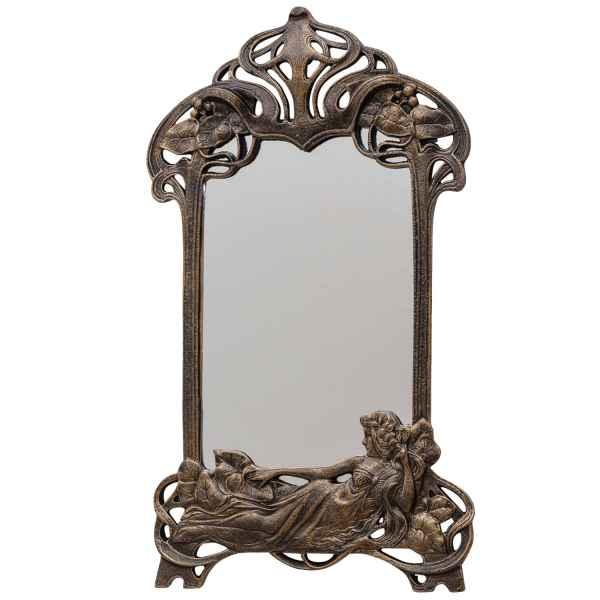 Spiegel Schminkspiegel Kosmetikspiegel Jugendstil Eisen Antik-Stil 50cm