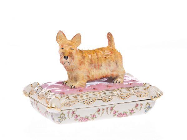 Porzellan Hund Scottish Terrier Schnauzer Deckeldose Schale antik Stil porcelain
