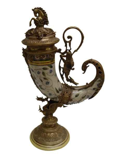 Füllhorn Porzellan Messing Horn Pferd Drache Blume Skulptur Antik-Stil 53cm