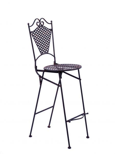 Gartenmöbel Eisenmöbel Barhocker Gartenstuhl Stuhl antik Stil Eisen braun 105cm