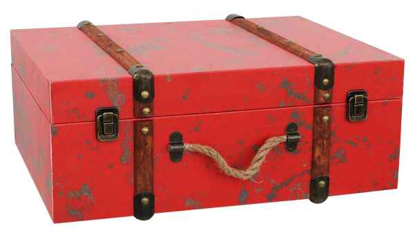 Koffer Holzkoffer Holz Nostalgie Antik-Stil Oldtimer Kiste 45cm Vintage