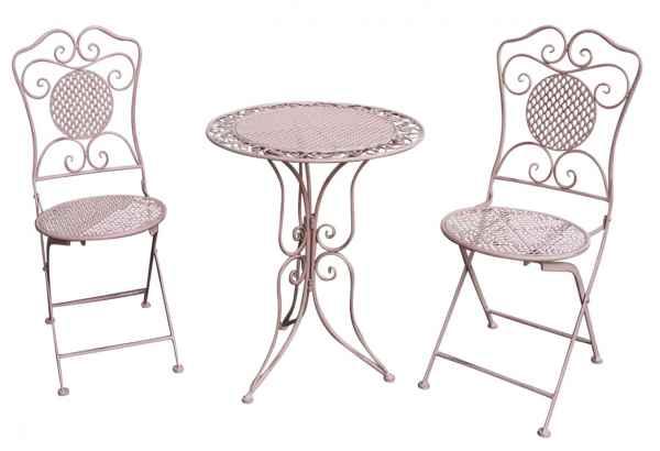 Salon de jardin - 1 table et 2 chaises - fer - style antique - rose