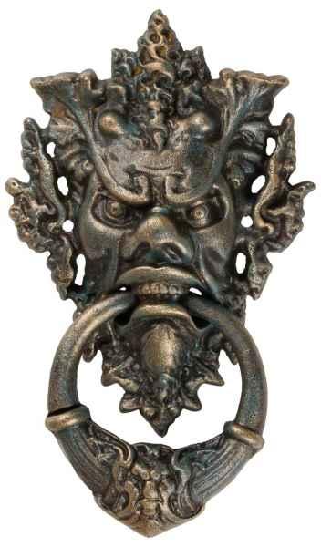 Türklopfer Teufel Gesicht Figur Skulptur Eisen Antik-Stil 37cm