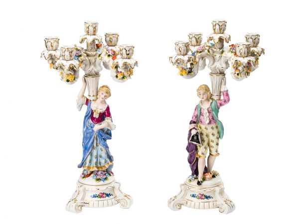 2 Kerzenleuchter Paar Porzellan Kerzenständer 47cm Blumen antik Stil porcelain