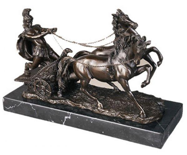 Bronzeskulptur Römer im Streitwagen Reiter Bronze Figur Skulptur 52cm sculpture