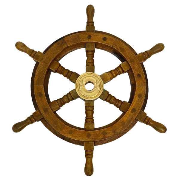 Steuerrad Schiffssteuerrad 36cm Schiff Schiffsrad Holz Messing braun Antik-Stil