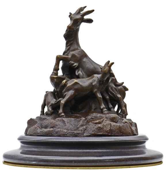Bronzeskulptur Ziege Bronze Figur Statue nach Leonardo Bistolfi Replik Kopie