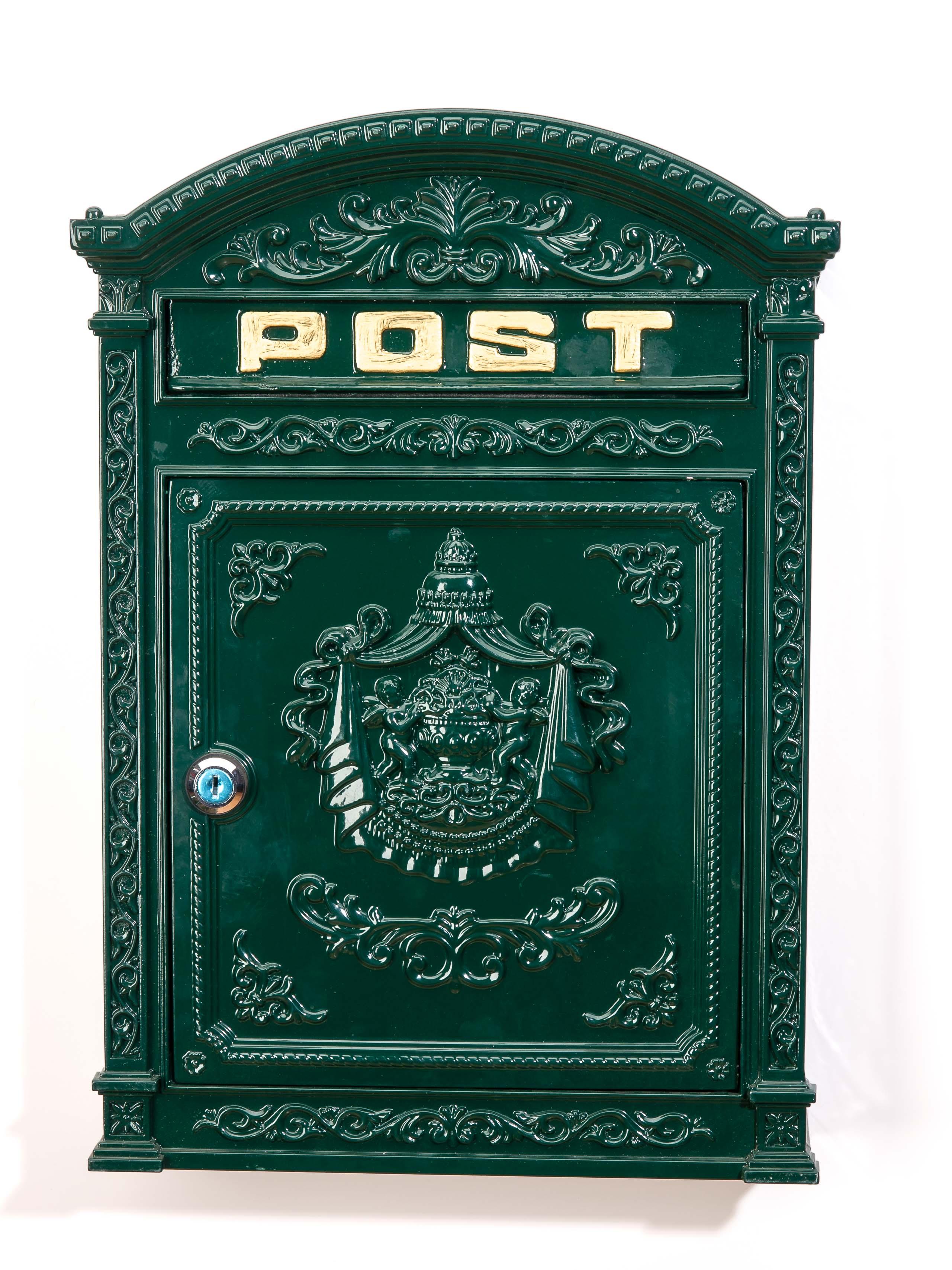 Standbriefkasten Postkasten Antik Stil Zeitungskasten Grau Metall Aluminium neu