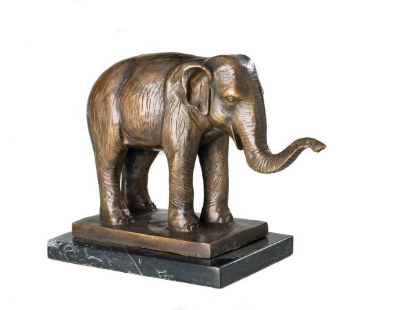 Bronzeskulptur Elefant Afrika Figur Skulptur Bronzefigur 30cm Antik-Stil