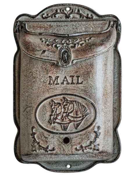 Briefkasten Wandbriefkasten Eisen antik Stil Landhausstil Pferd Shabby grau iron