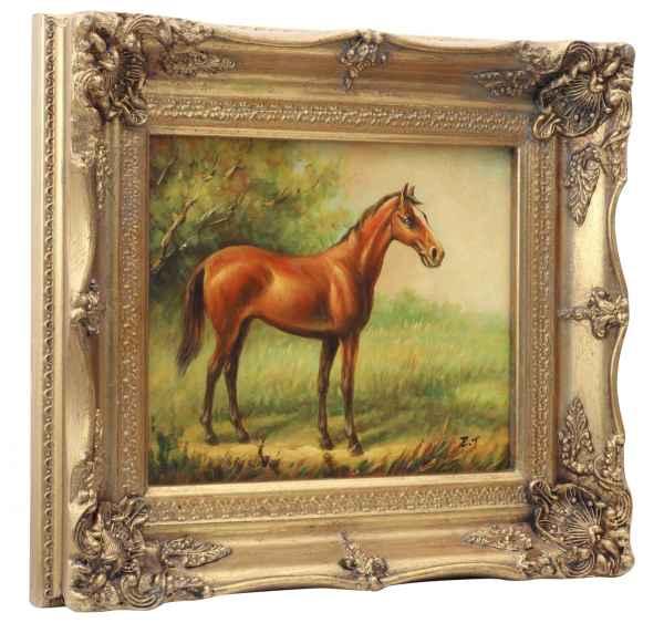 Original Ölgemälde Pferd Reiten Gemälde Rahmen Antik-Stil 24x19cm