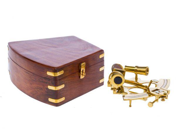 Sextant Messing mit Holzbox Maritim Nautik Schifffahrt Navigation antik Stil