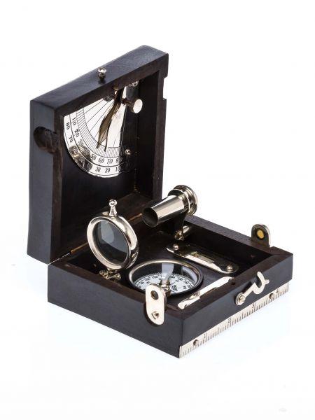 Kompass Holzbox Wasserwaage Lupe Fernrohr Schifffahrt Maritim Antikstil