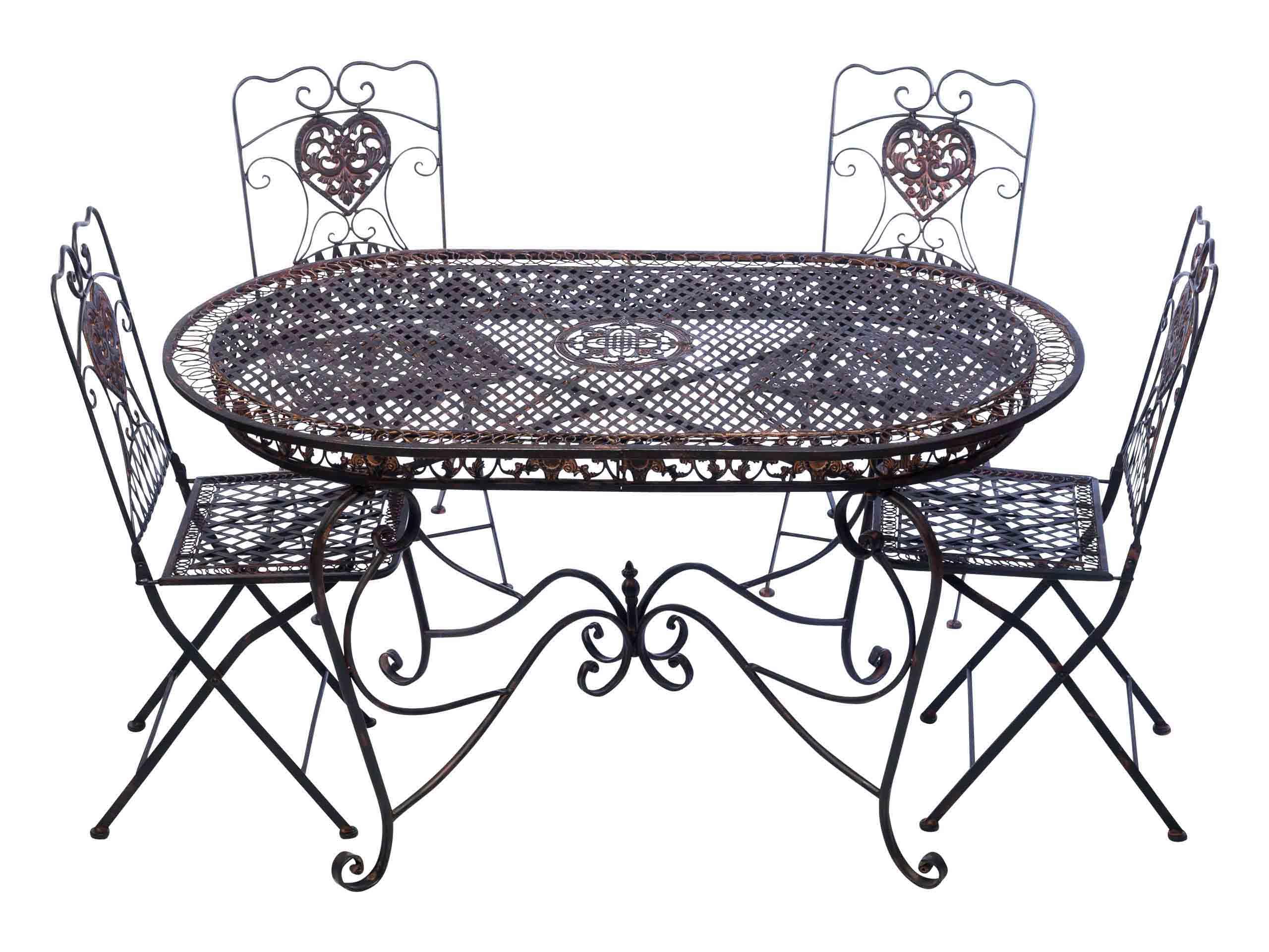 Garnitur Gartentisch 4 Stuhle Braun Eisen Gartenmobel Stuhl