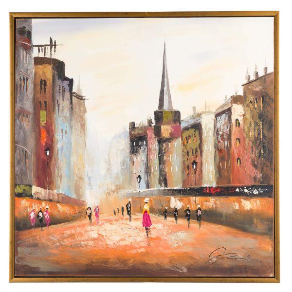 Original Ölgemälde mit Rahmen Stadt moderne city Gemälde Bild Personen 84x84cm