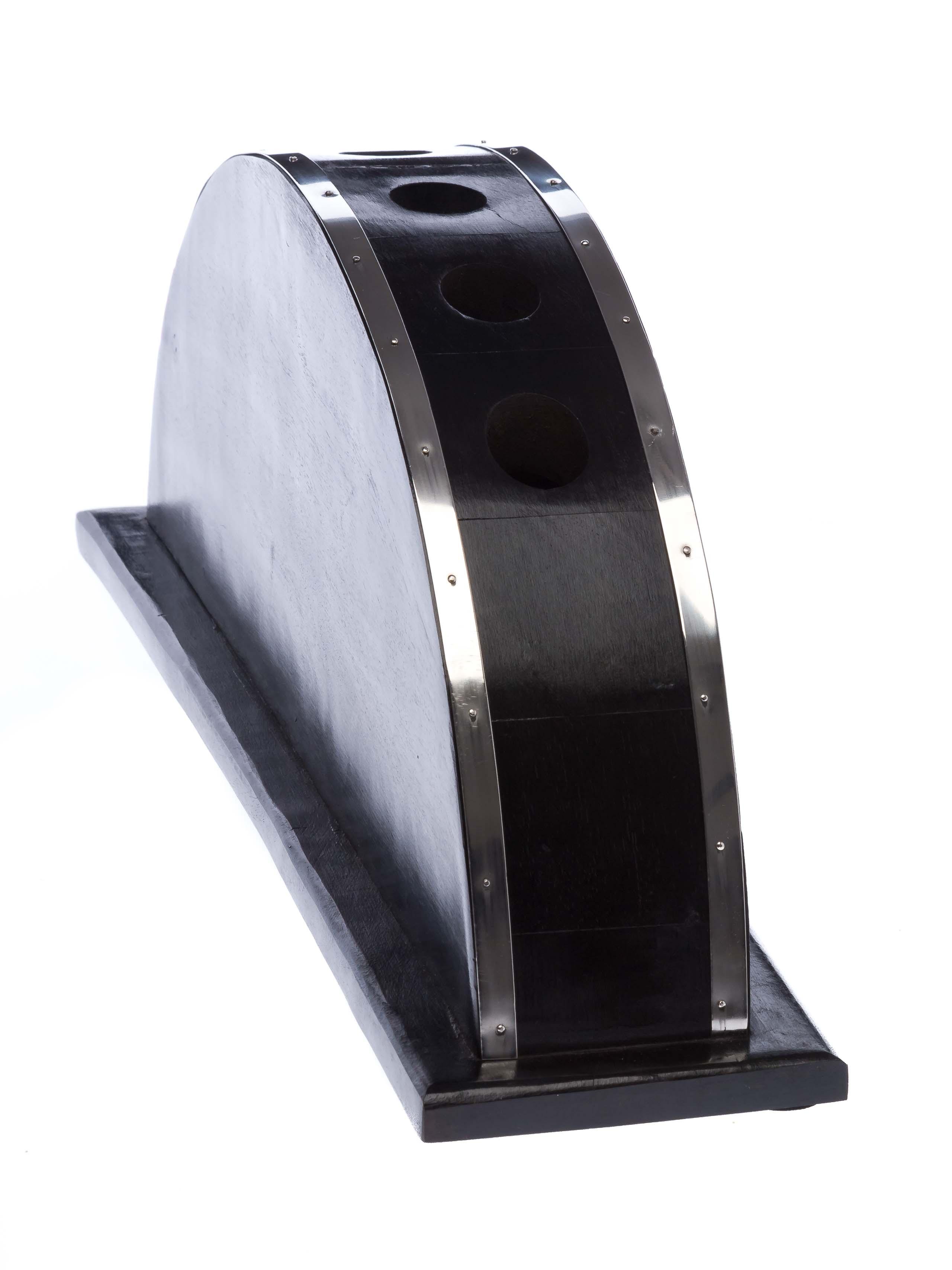 Spazierstock Ständer Stockständer massiv Holz Schwarz Silberfarbig beschlagen