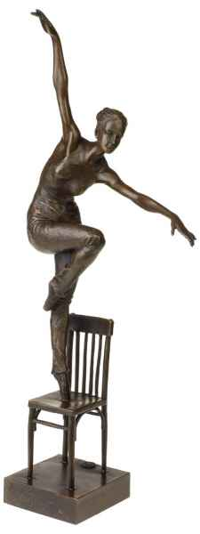 Scultura ballerina sedia decorativa in bronzo stile antico statua figura - 51cm