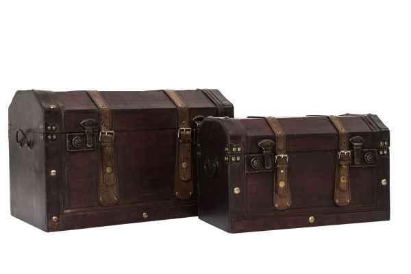 2x Truhe Koffer Kiste Box Schatztruhe Schatzkiste Truhe Nostalgie antik Stil