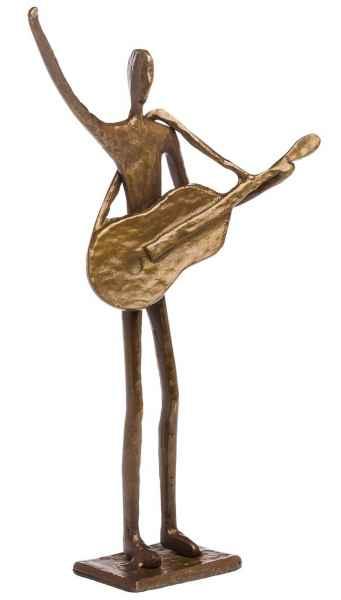 Skulptur Gitarrist Bassist Gitarre Bass Antik-Stil Bronze Figur moderne Kunst