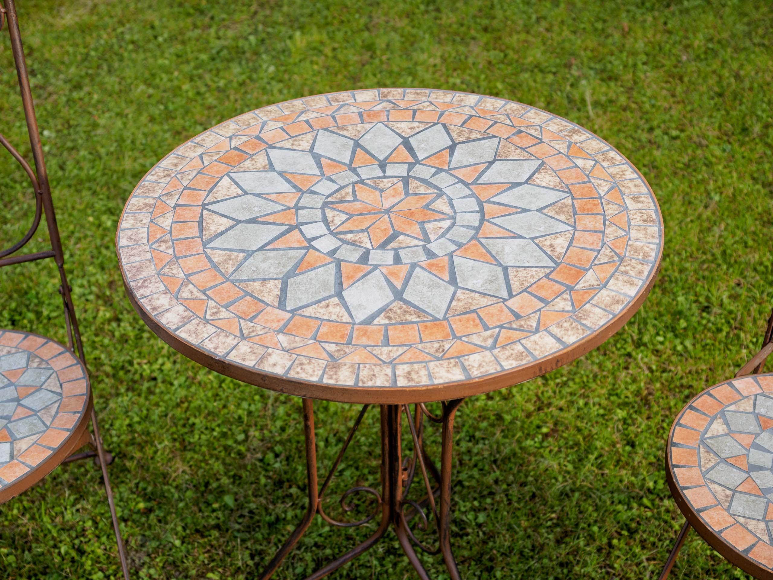 Set tavolo da giardino e sedie piastrelle a mosaico ferro sedia