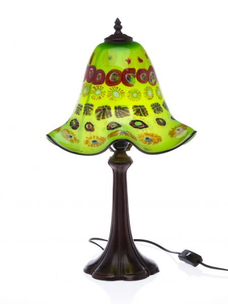Tischlampe Lampe Glas Glasschirm im Murano Stil 53cm grün glass table lamp green