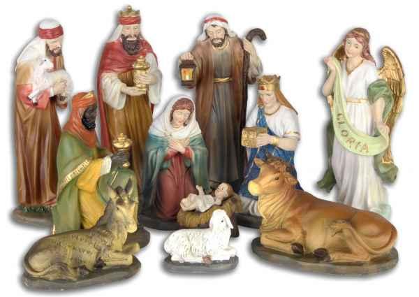Set 11-teilig Krippenfiguren Krippe Weihnachten Weihnachtskrippe handbemalt 20cm