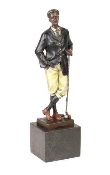 Bronzeskulptur Golf Golfer im Antik-Stil Bronze Figur Statue Pokal 32cm