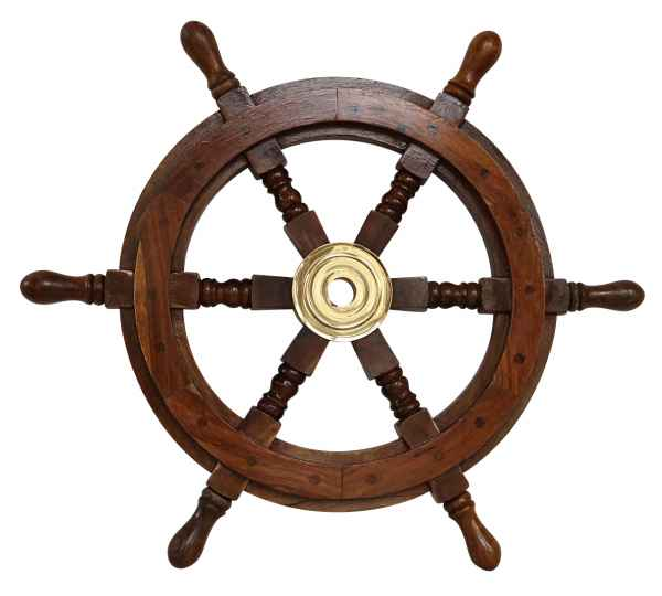 Schiffssteuerrad Schiffsrad Steuerrad Schiff Schiffe Boot 48cm Holz Antik-Stil