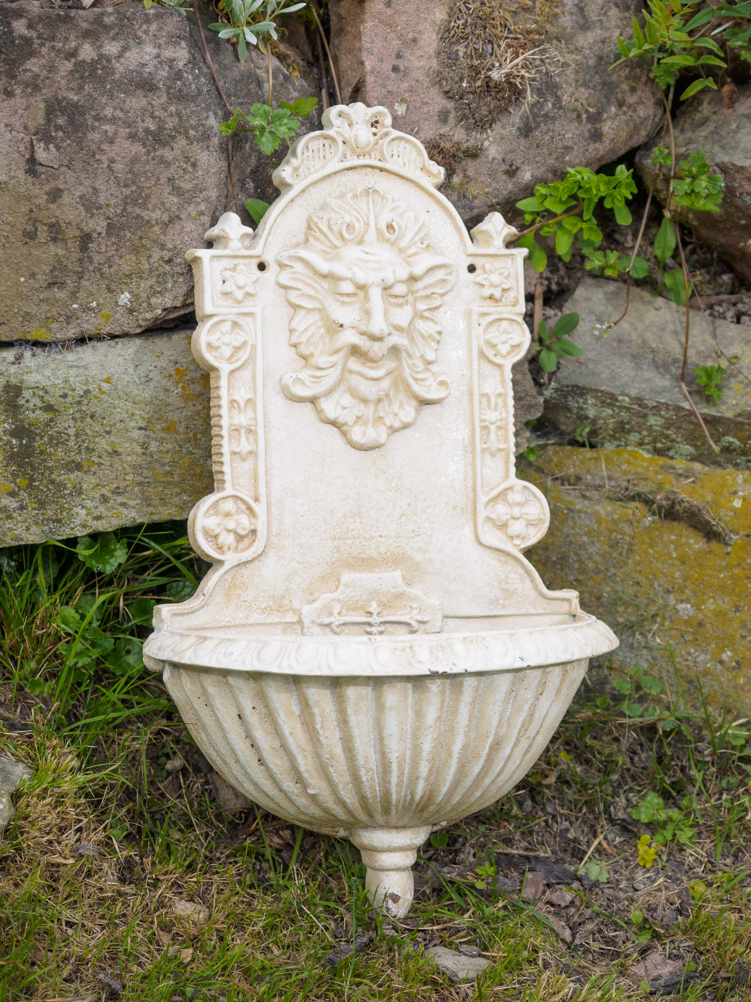 Pflanzschale Waschbecken Wandbrunnen Fabelwesen Eisen Antik Stil