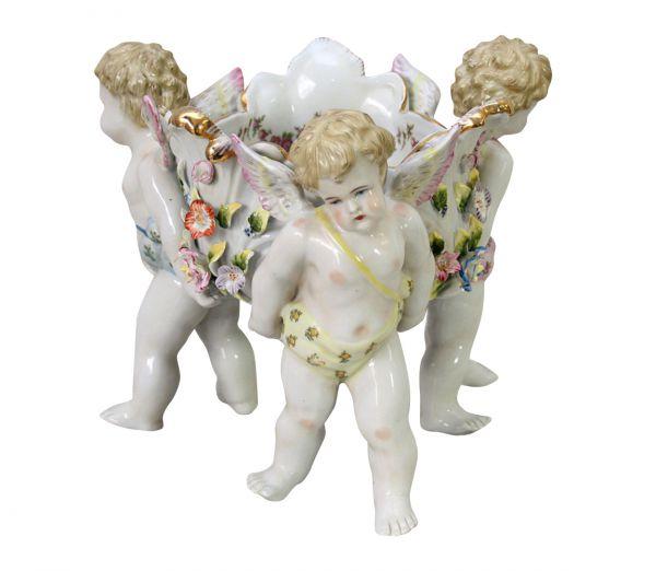 Nostalgie Porzellan Schale Anbietschale Engel Kinder Figur Skulptur antik Stil