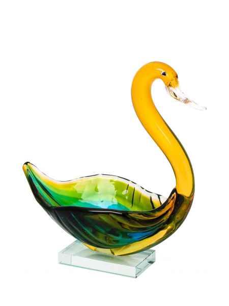 Glasschale Schwan Vogel Figur glass swan Glaskunst Dekoration 29,5cm
