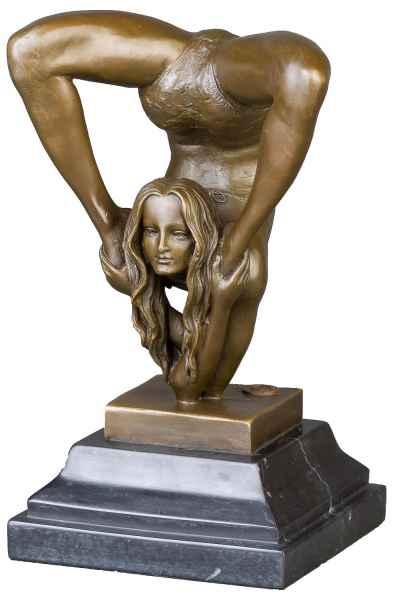 Bronzeskulptur Schlangenmensch Yoga Frau im Antik-Stil Bronze Figur Statue 22cm