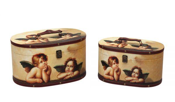 2x Beautycase Engel Raffael antik Stil Box Truhe Koffer Kosmetikbox suitcase